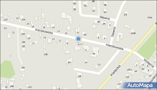 Radom, Kierzkowska, 7, mapa Radomia