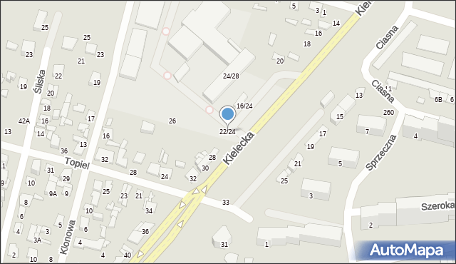 Radom, Kielecka, 22/24, mapa Radomia