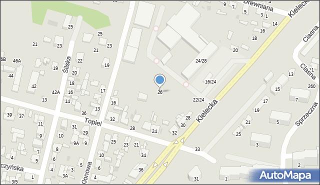 Radom, Kielecka, 26, mapa Radomia