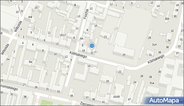 Radom, Kilińskiego Jana, płk., 21, mapa Radomia
