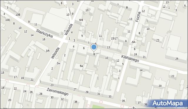 Radom, Kilińskiego Jana, płk., 8, mapa Radomia