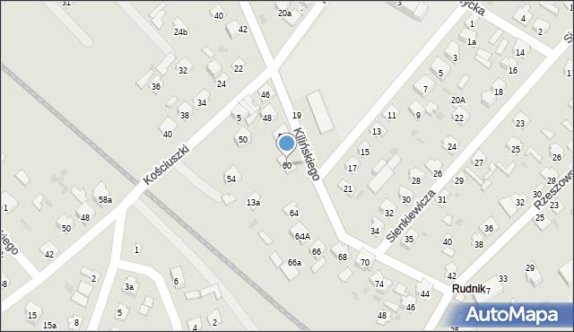 Rudnik nad Sanem, Kilińskiego Jana, płk., 60, mapa Rudnik nad Sanem