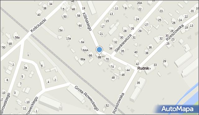 Rudnik nad Sanem, Kilińskiego Jana, płk., 68, mapa Rudnik nad Sanem