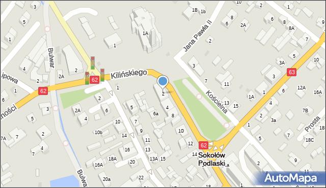 Sokołów Podlaski, Kilińskiego Jana, płk., 2, mapa Sokołów Podlaski