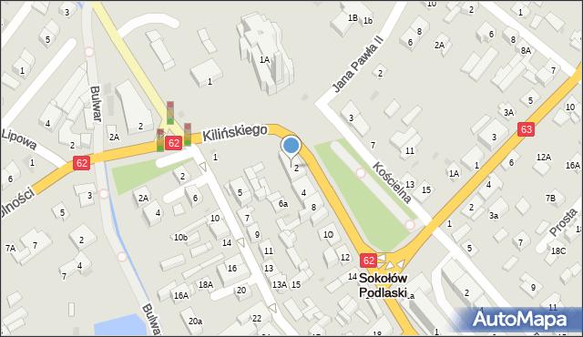Sokołów Podlaski, Kilińskiego Jana, płk., 2A, mapa Sokołów Podlaski