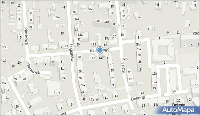 Toruń, Kilińskiego Jana, płk., 14, mapa Torunia