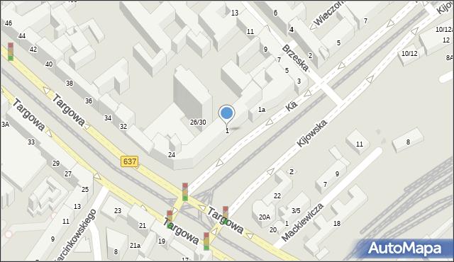 Warszawa, Kijowska, 1, mapa Warszawy