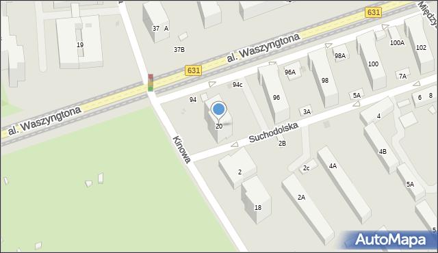 Warszawa, Kinowa, 20, mapa Warszawy
