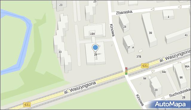 Warszawa, Kinowa, 19, mapa Warszawy