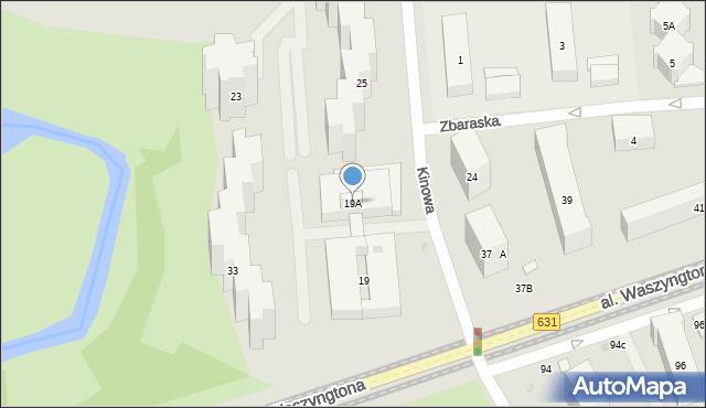 Warszawa, Kinowa, 19A, mapa Warszawy