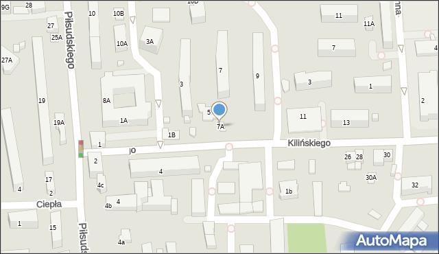 Zamość, Kilińskiego Jana, płk., 7A, mapa Zamościa