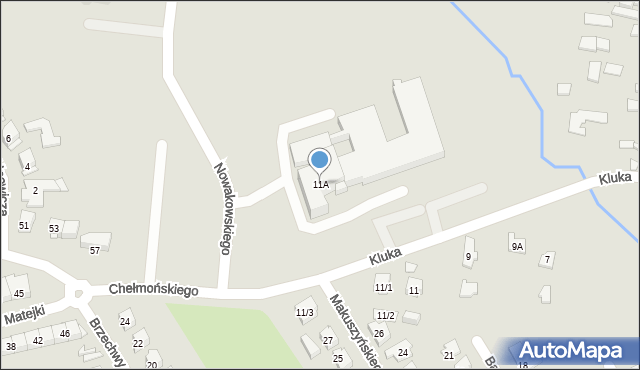 Białystok, Kluka Jana Krzysztofa, 11A, mapa Białegostoku
