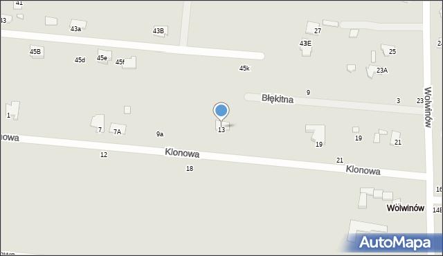 Chełm, Klonowa, 13, mapa Chełma