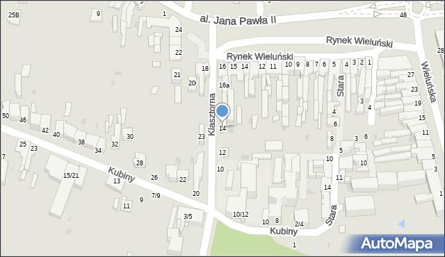 Częstochowa, Klasztorna, 14, mapa Częstochowy