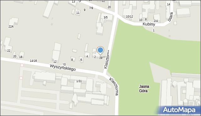 Częstochowa, Klasztorna, 19, mapa Częstochowy