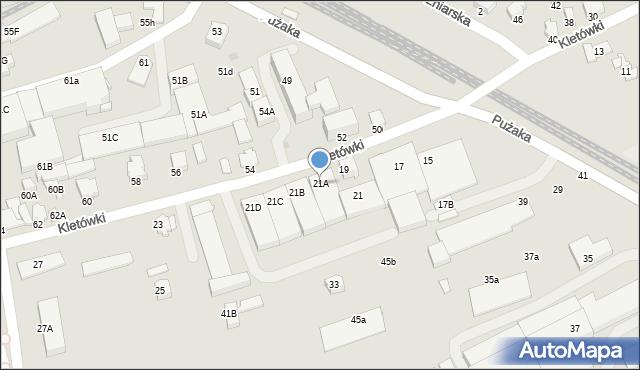 Krosno, Kletówki, 21A, mapa Krosna