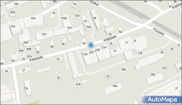 Krosno, Kletówki, 21C, mapa Krosna