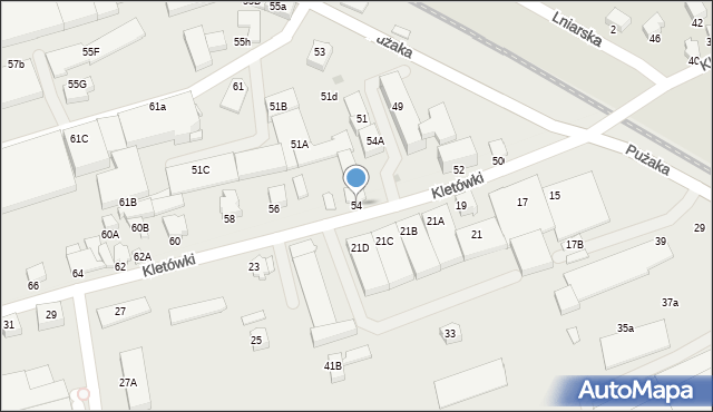 Krosno, Kletówki, 54, mapa Krosna