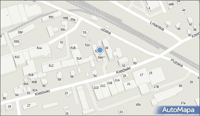 Krosno, Kletówki, 54A, mapa Krosna