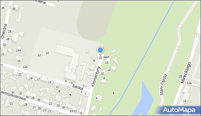 Radom, Klementyny, 11, mapa Radomia