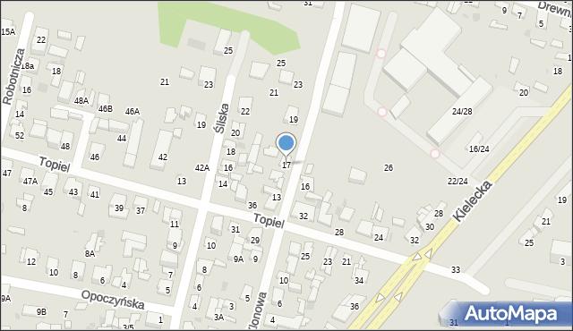 Radom, Klonowa, 17, mapa Radomia