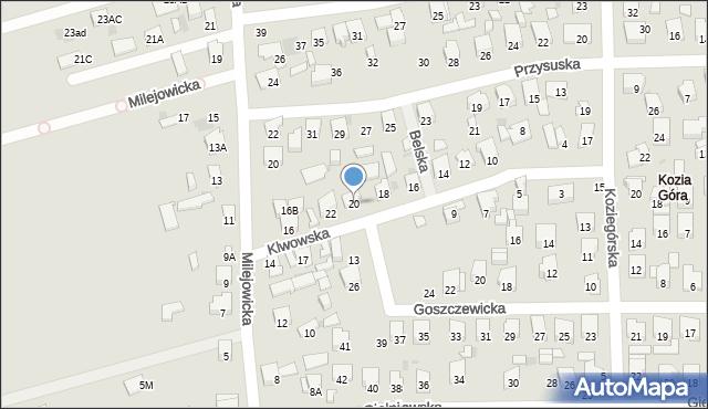 Radom, Klwowska, 20, mapa Radomia