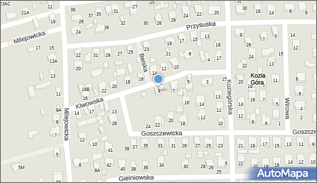 Radom, Klwowska, 9, mapa Radomia