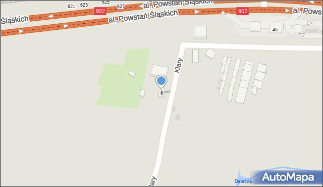 Ruda Śląska, Klary, 6, mapa Rudy Śląskiej