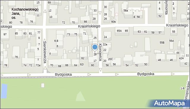 Toruń, Klonowica Sebastiana, 19, mapa Torunia