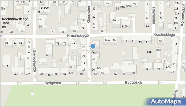 Toruń, Klonowica Sebastiana, 22a, mapa Torunia