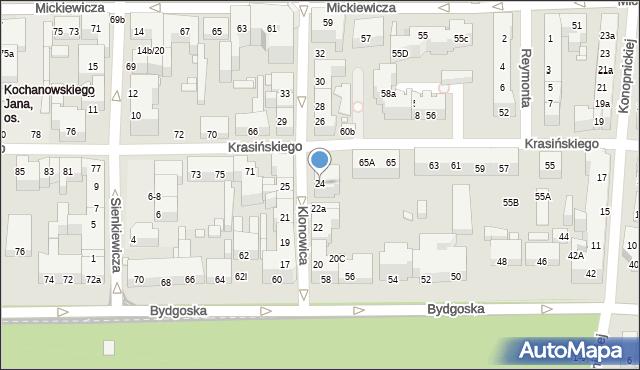 Toruń, Klonowica Sebastiana, 24, mapa Torunia