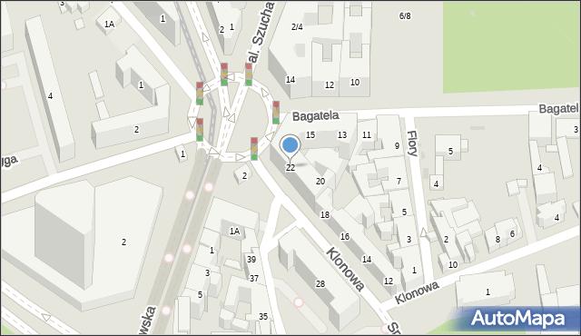 Warszawa, Klonowa, 22, mapa Warszawy