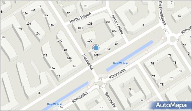 Warszawa, Klimczaka Franciszka, 10B, mapa Warszawy