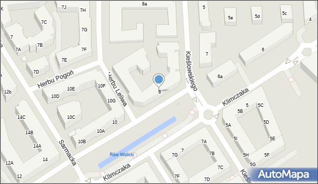 Warszawa, Klimczaka Franciszka, 8, mapa Warszawy