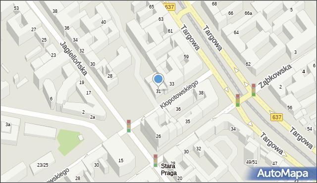 Warszawa, Kłopotowskiego Ignacego, ks., 31, mapa Warszawy