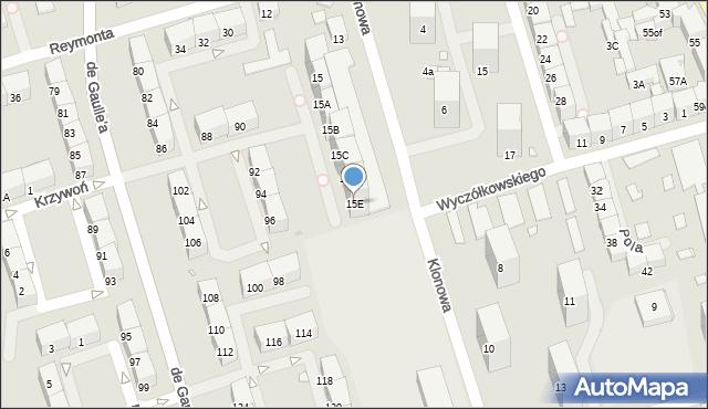 Zabrze, Klonowa, 15E, mapa Zabrza