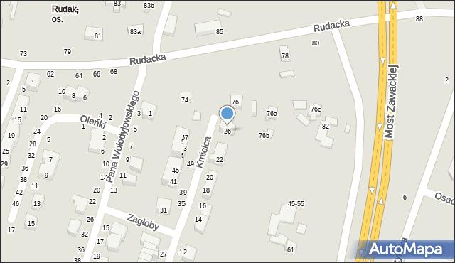 Toruń, Kmicica Andrzeja, 26, mapa Torunia