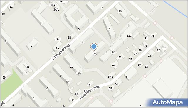 Białystok, Konopnickiej Marii, 12A, mapa Białegostoku