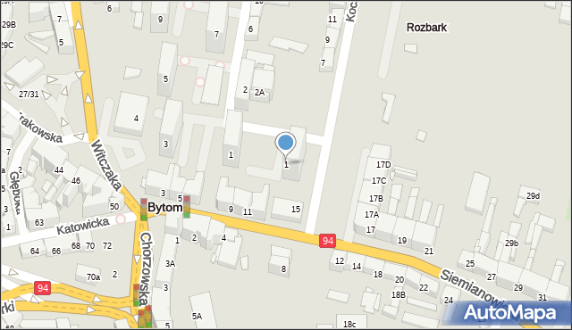 Bytom, Kochanowskiego Jana, 1, mapa Bytomia