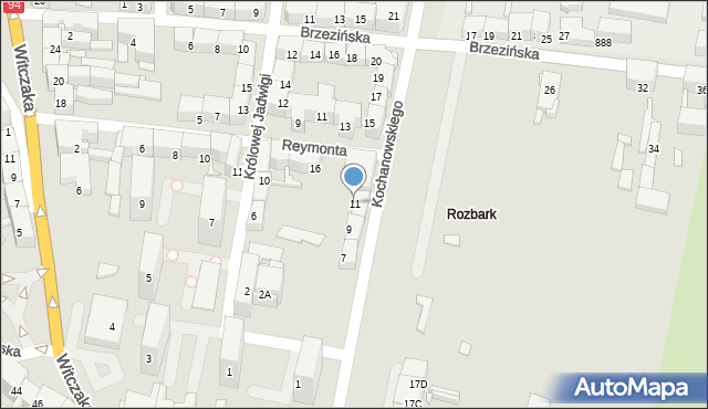 Bytom, Kochanowskiego Jana, 11, mapa Bytomia