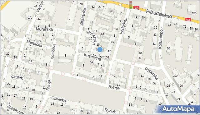 Bytom, Kościelna, 10, mapa Bytomia