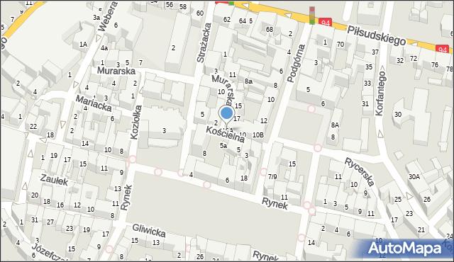 Bytom, Kościelna, 10A, mapa Bytomia