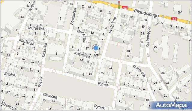 Bytom, Kościelna, 10B, mapa Bytomia