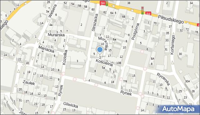 Bytom, Kościelna, 2, mapa Bytomia