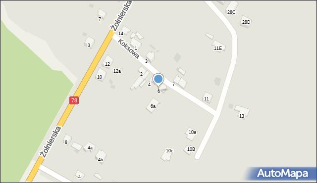 Bytom, Koksowa, 6, mapa Bytomia