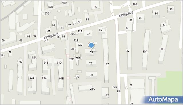 Chełm, Kolejowa, 74, mapa Chełma