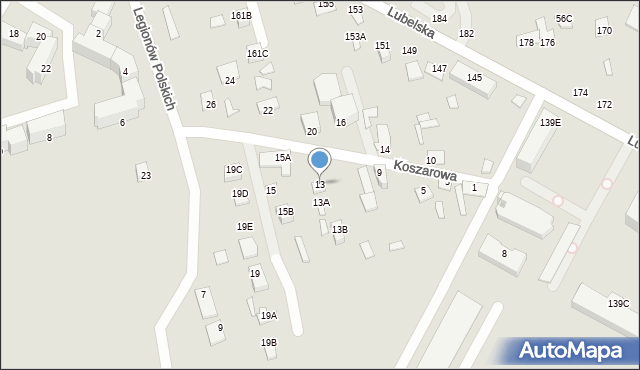 Chełm, Koszarowa, 13, mapa Chełma