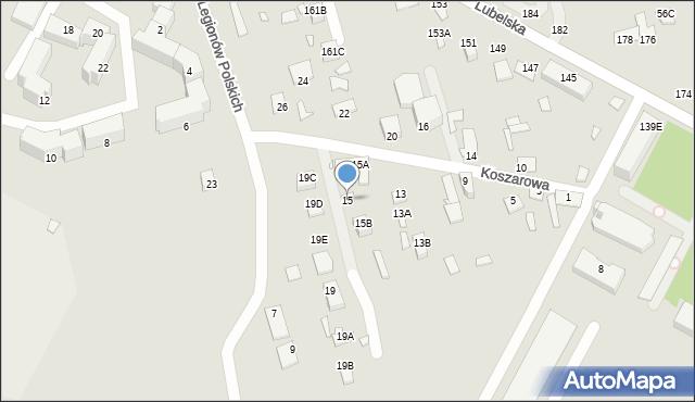Chełm, Koszarowa, 15, mapa Chełma