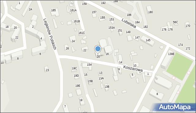Chełm, Koszarowa, 20, mapa Chełma