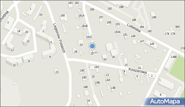 Chełm, Koszarowa, 22, mapa Chełma